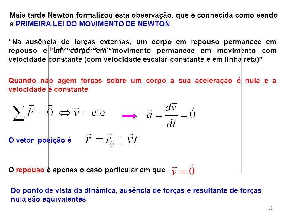 Mais tarde Newton formalizou esta observação, que é conhecida como sendo a PRIMEIRA LEI DO MOVIMENTO DE NEWTON