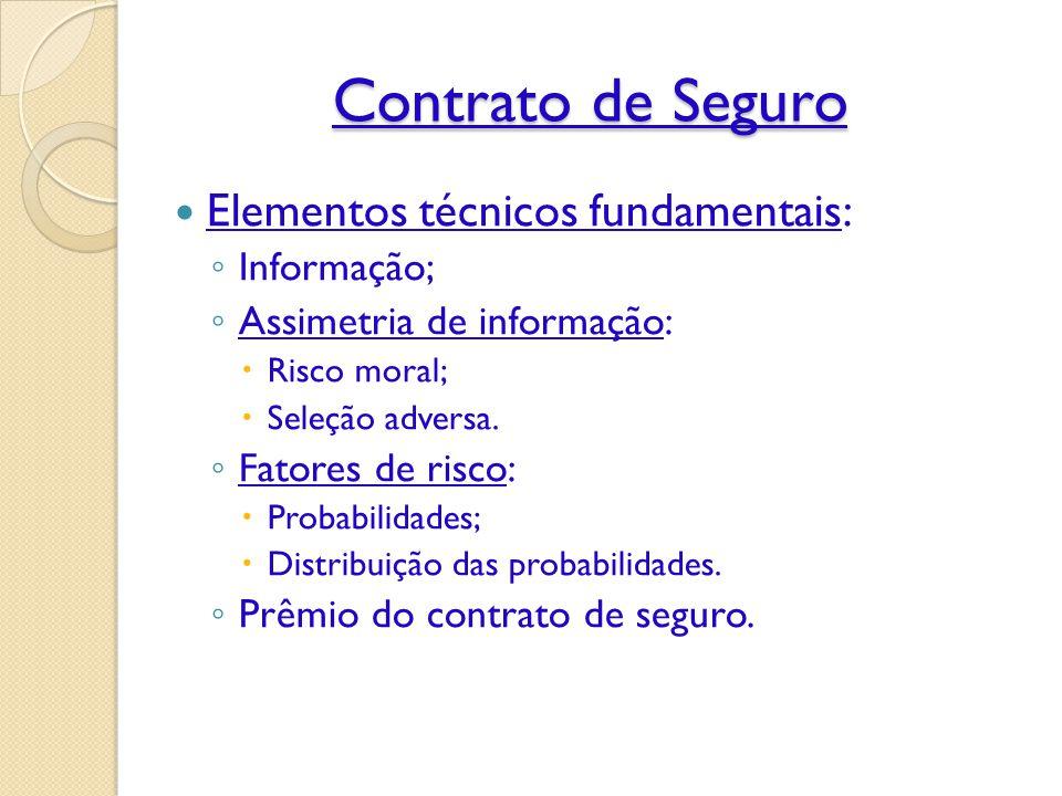 Contrato de Seguro Elementos técnicos fundamentais: Informação;
