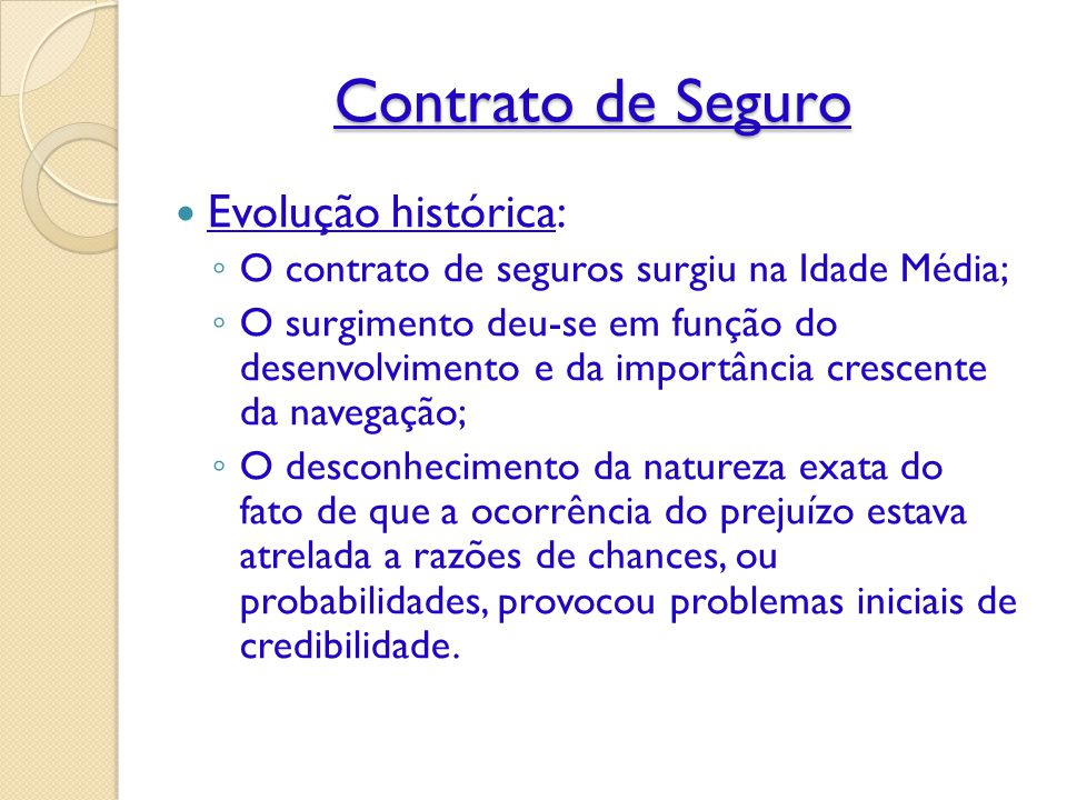 Contrato de Seguro Evolução histórica:
