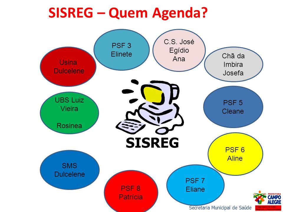 SISREG – Quem Agenda SISREG C.S. José Egídio PSF 3 Elinete Ana