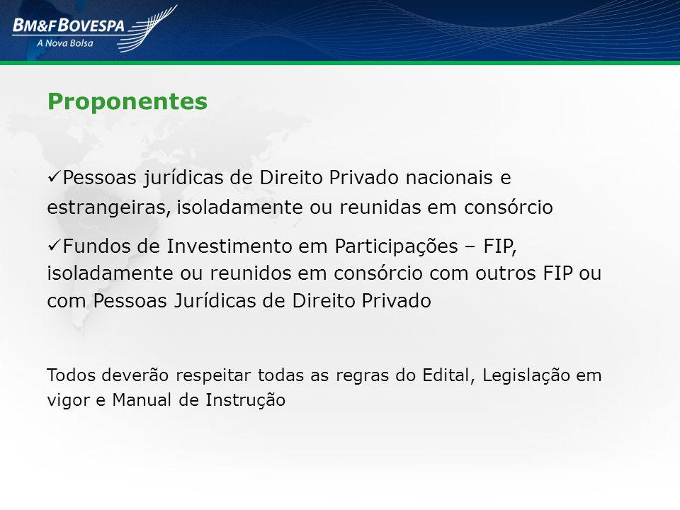 Proponentes Pessoas jurídicas de Direito Privado nacionais e estrangeiras, isoladamente ou reunidas em consórcio.