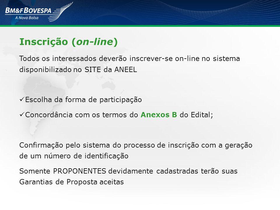 Inscrição (on-line) Todos os interessados deverão inscrever-se on-line no sistema disponibilizado no SITE da ANEEL.