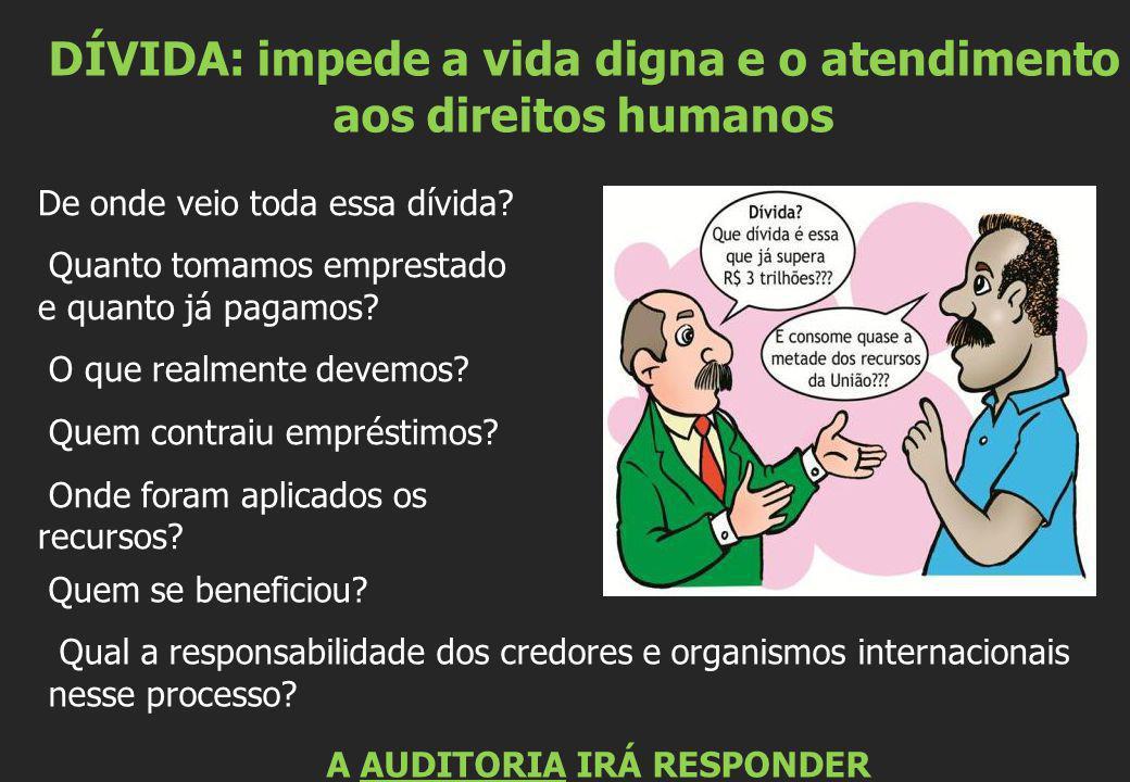 DÍVIDA: impede a vida digna e o atendimento aos direitos humanos