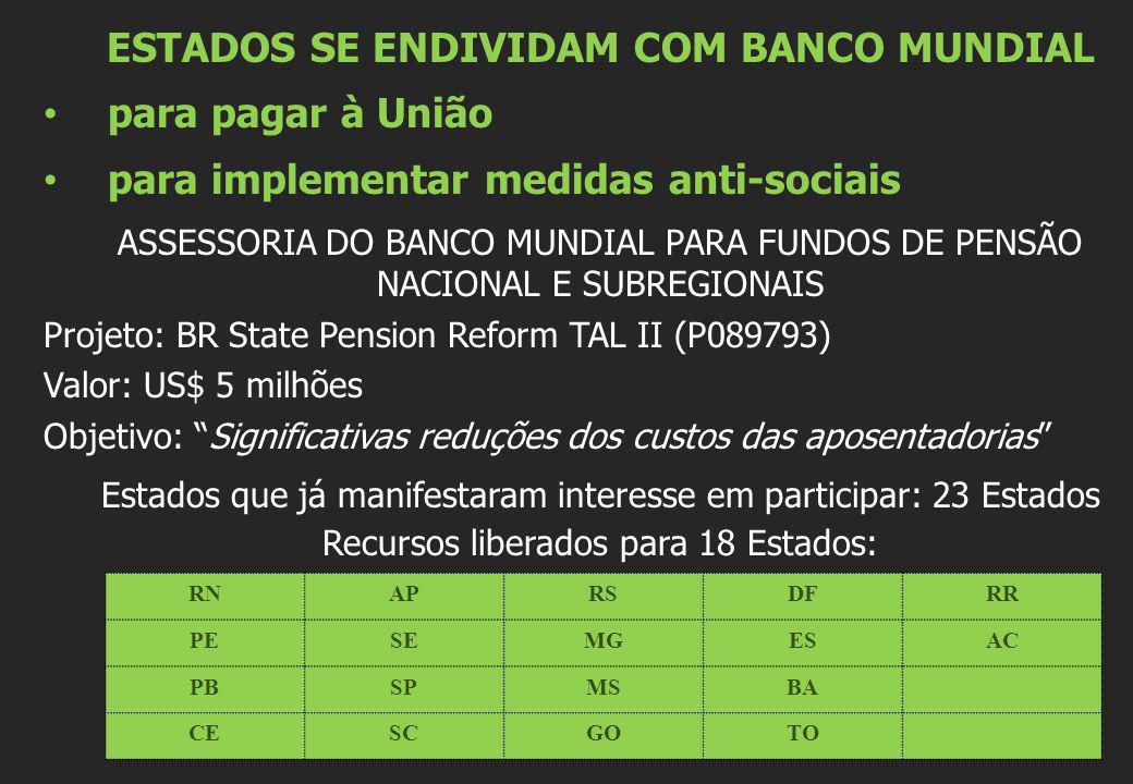 ESTADOS SE ENDIVIDAM COM BANCO MUNDIAL