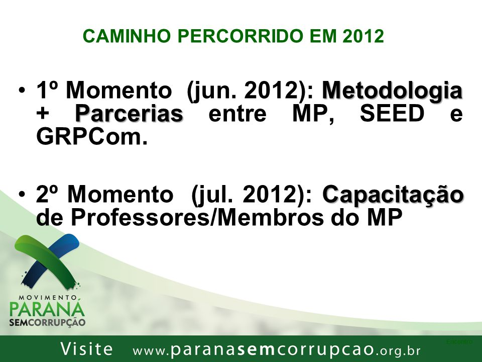 2º Momento (jul. 2012): Capacitação de Professores/Membros do MP