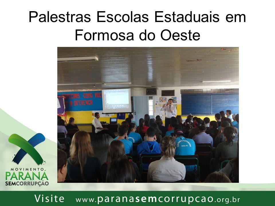 Palestras Escolas Estaduais em Formosa do Oeste