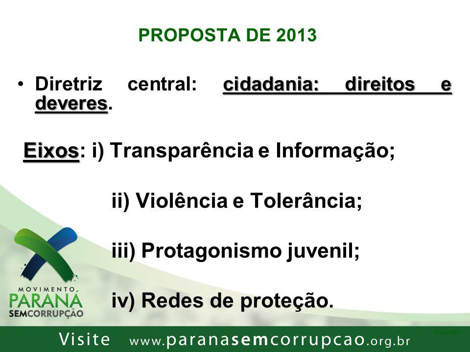 Eixos: i) Transparência e Informação; ii) Violência e Tolerância;