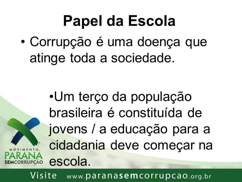 Papel da Escola Corrupção é uma doença que atinge toda a sociedade.
