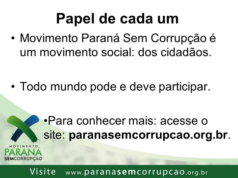 Papel de cada um Movimento Paraná Sem Corrupção é um movimento social: dos cidadãos. Todo mundo pode e deve participar.