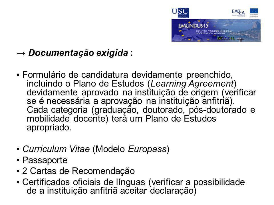 → Documentação exigida :