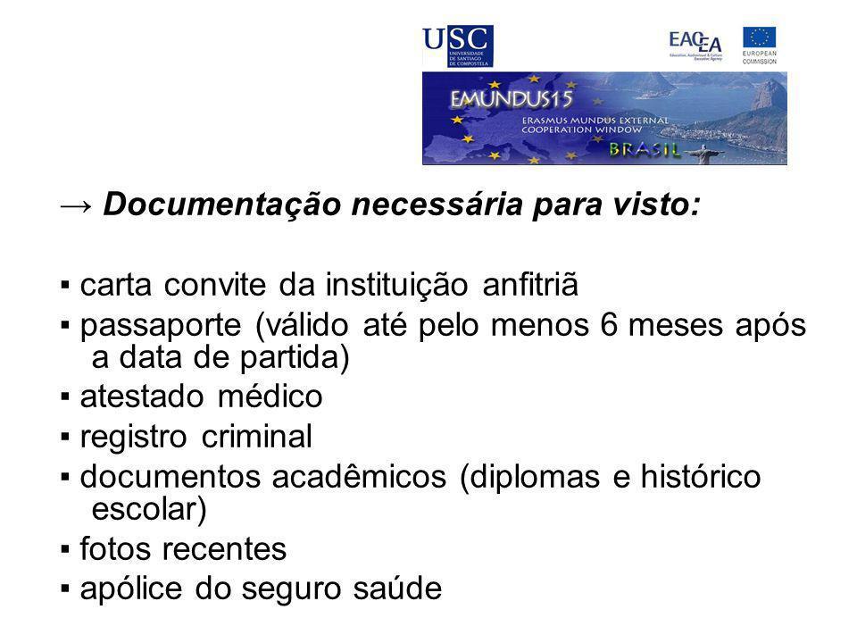 → Documentação necessária para visto: