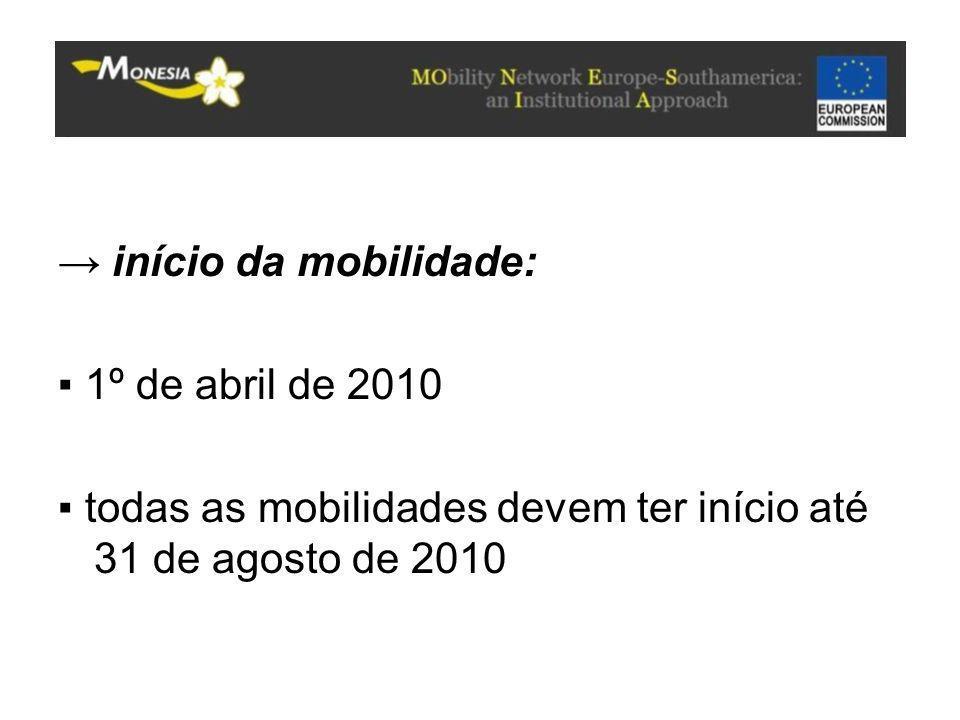 → início da mobilidade: