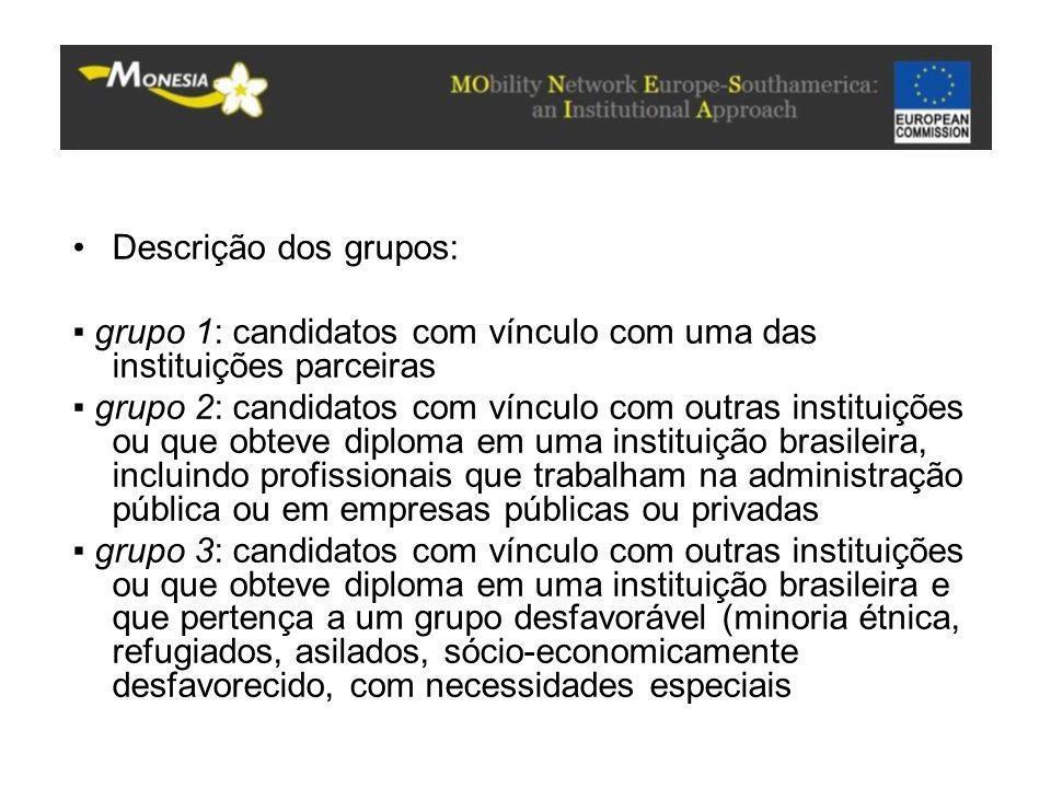 Descrição dos grupos: ▪ grupo 1: candidatos com vínculo com uma das instituições parceiras.