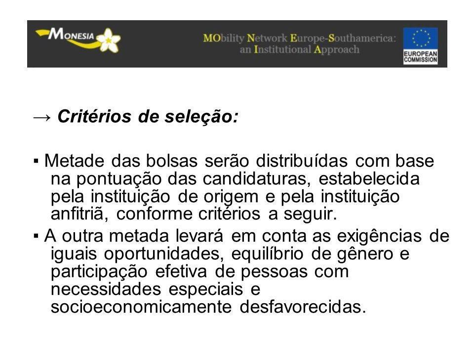 → Critérios de seleção:
