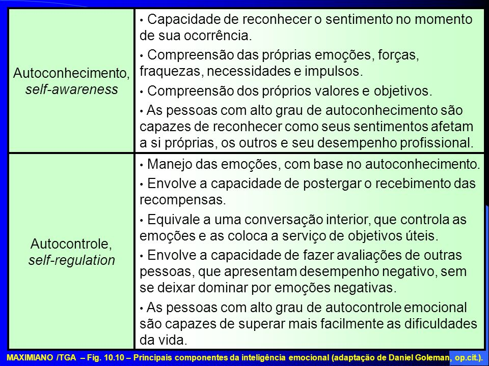 Autocontrole, self-regulation Autoconhecimento, self-awareness