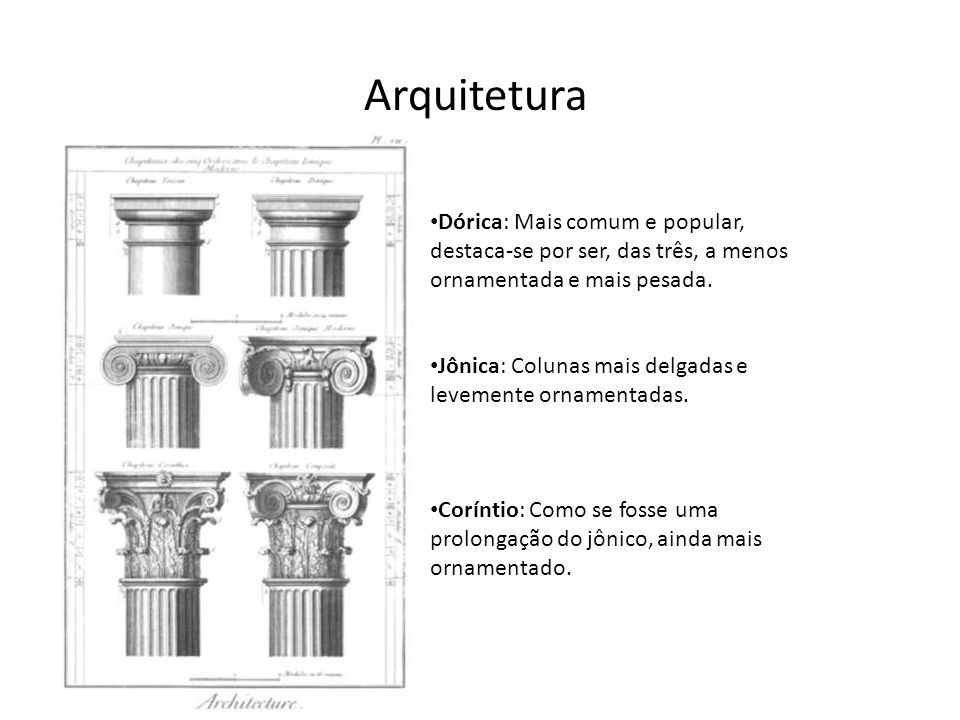 Arquitetura Dórica: Mais comum e popular, destaca-se por ser, das três, a menos ornamentada e mais pesada.