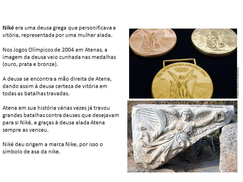 Niké era uma deusa grega que personificava a vitória, representada por uma mulher alada.