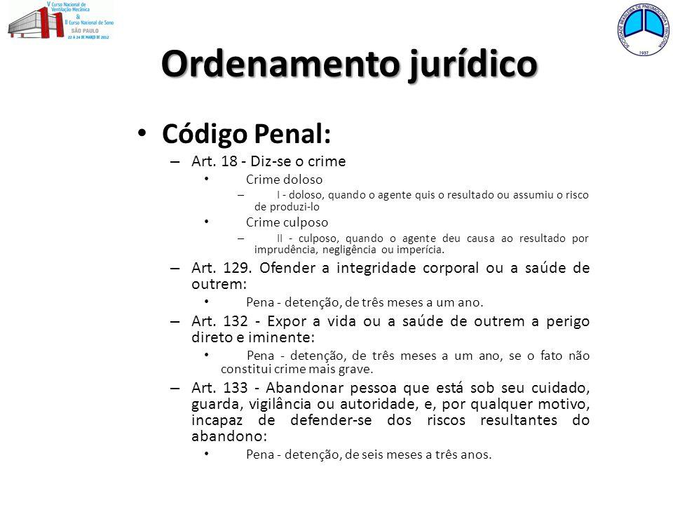 Ordenamento jurídico Código Penal: Art. 18 - Diz-se o crime