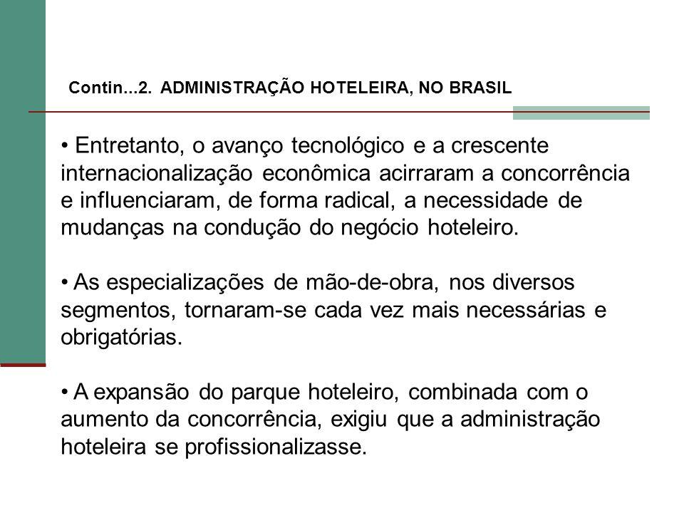 mudanças na condução do negócio hoteleiro.