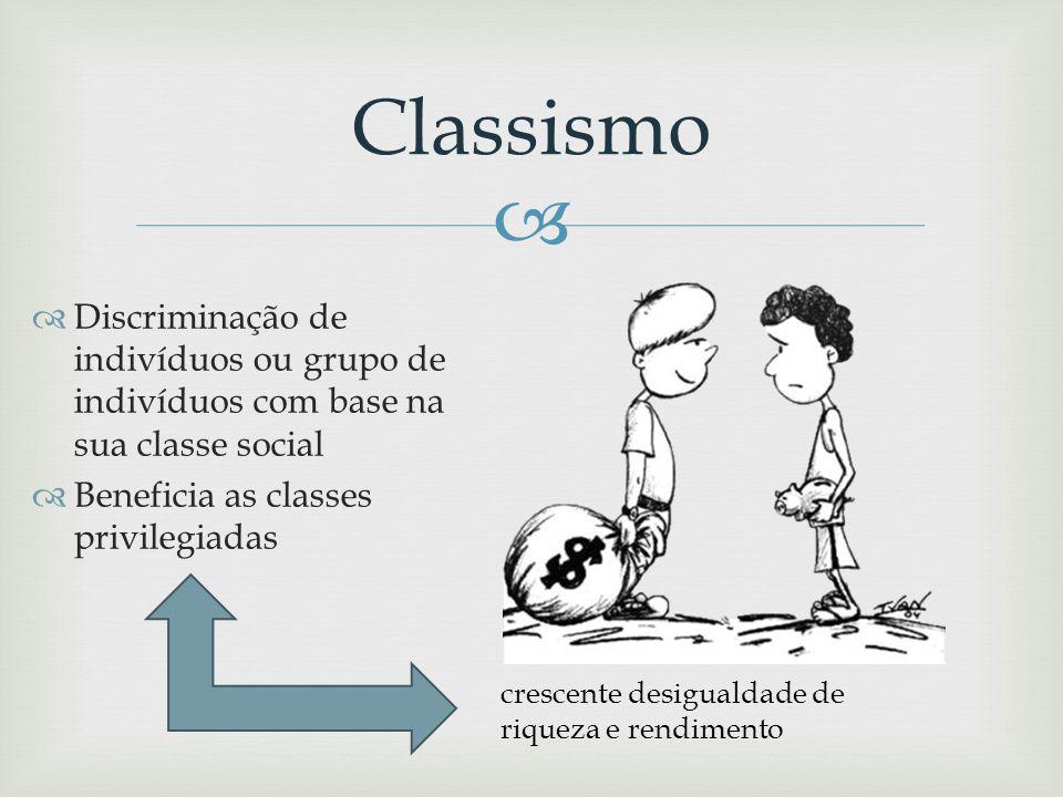 Classismo Discriminação de indivíduos ou grupo de indivíduos com base na sua classe social. Beneficia as classes privilegiadas.
