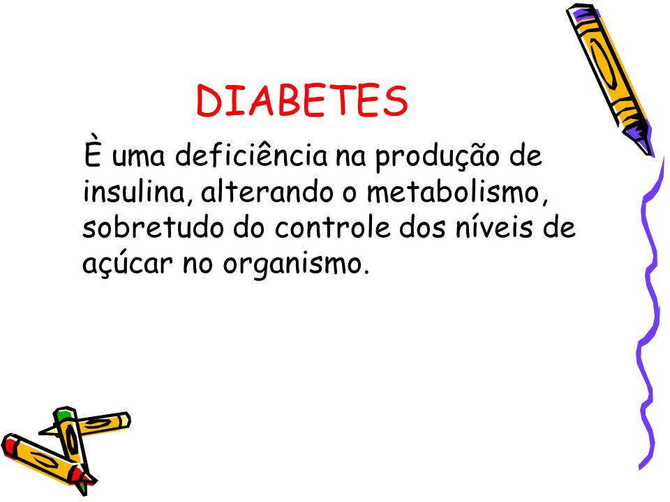 DIABETES È uma deficiência na produção de insulina, alterando o metabolismo, sobretudo do controle dos níveis de açúcar no organismo.