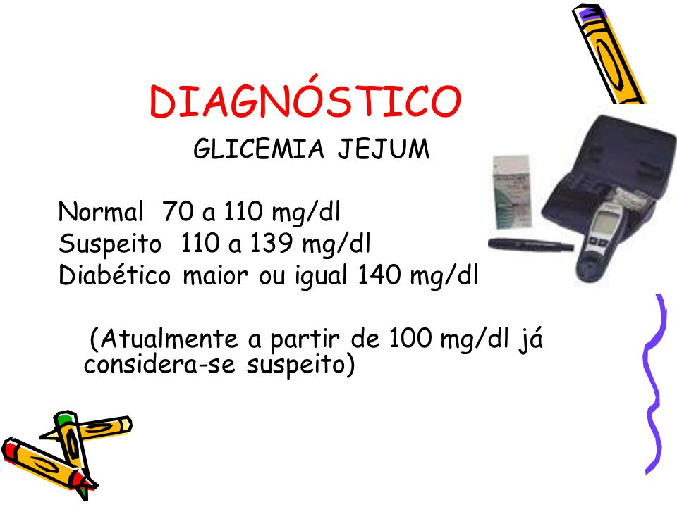 DIAGNÓSTICO GLICEMIA JEJUM Normal 70 a 110 mg/dl