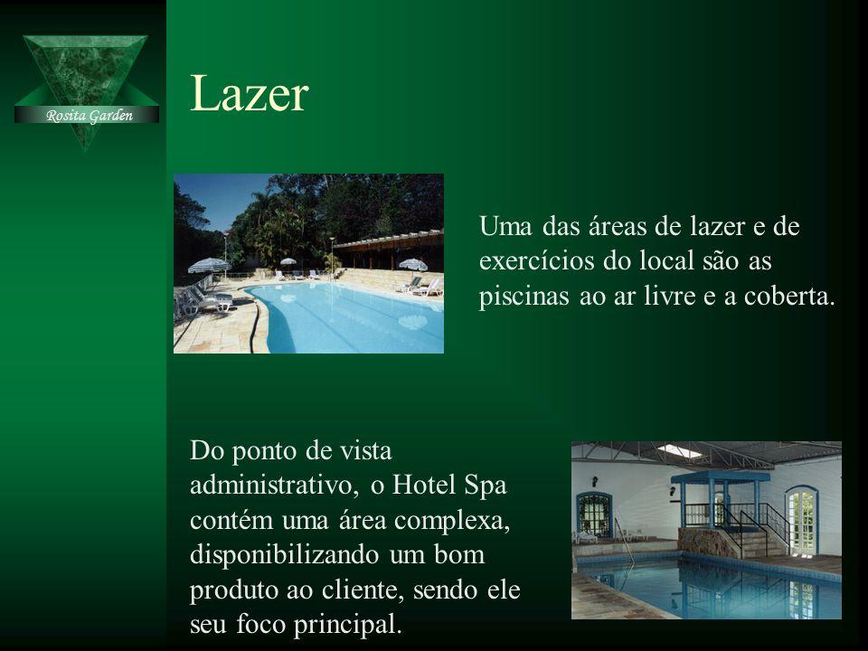 Lazer Rosita Garden. Uma das áreas de lazer e de exercícios do local são as piscinas ao ar livre e a coberta.