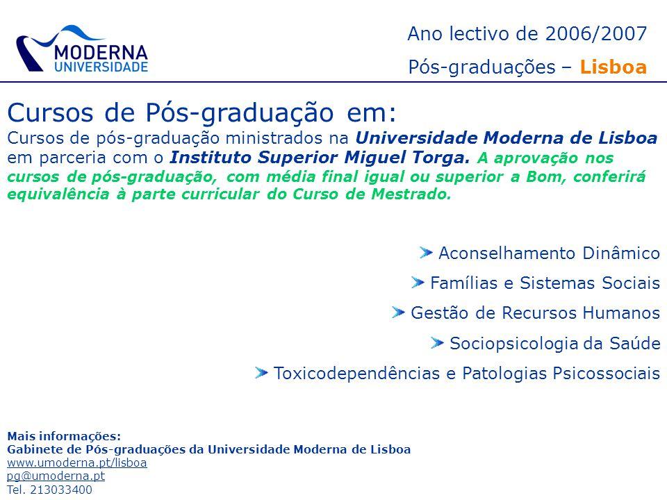 Cursos de Pós-graduação em: