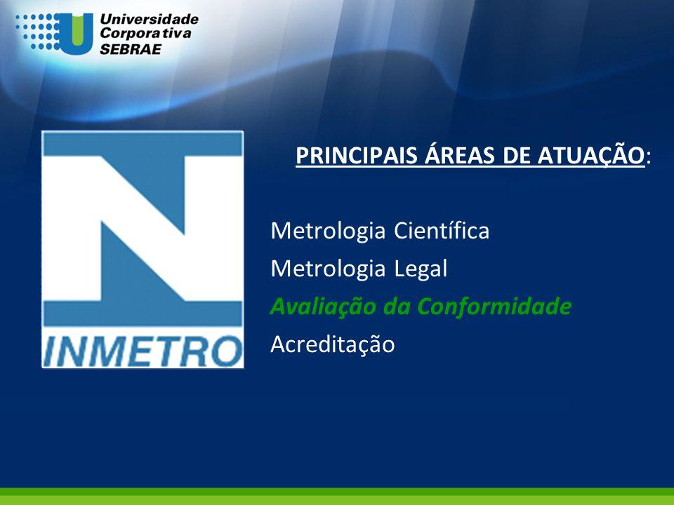 PRINCIPAIS ÁREAS DE ATUAÇÃO: Metrologia Científica Metrologia Legal Avaliação da Conformidade Acreditação