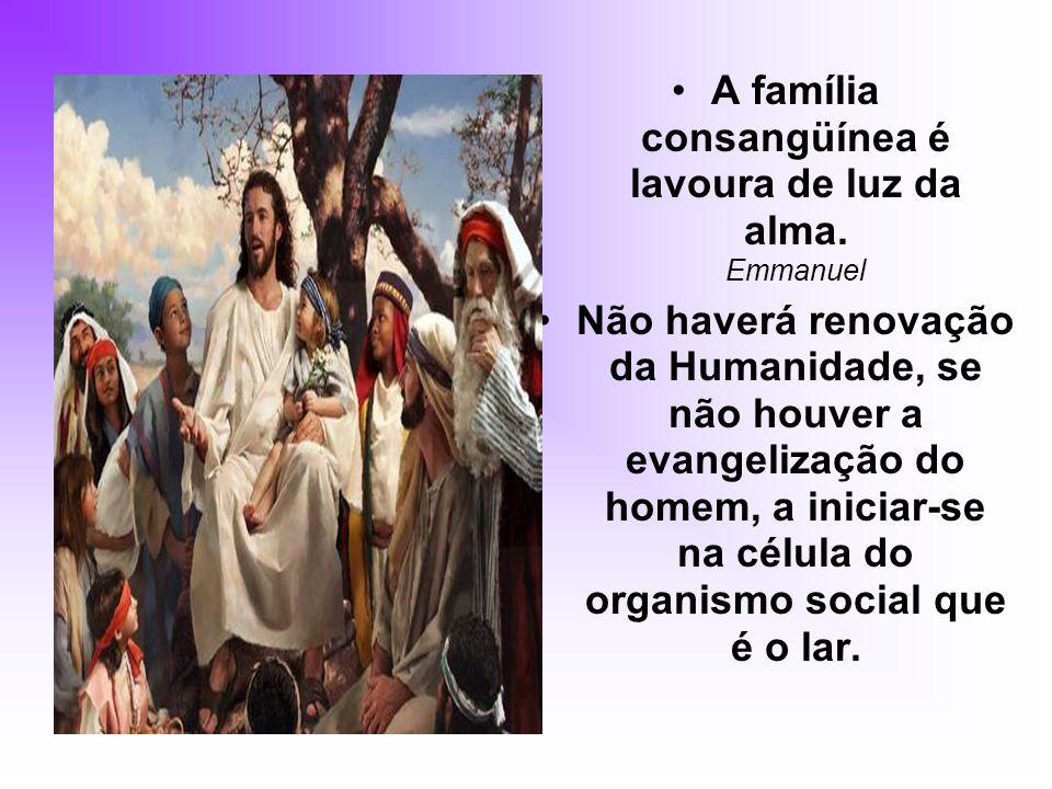 A família consangüínea é lavoura de luz da alma. Emmanuel