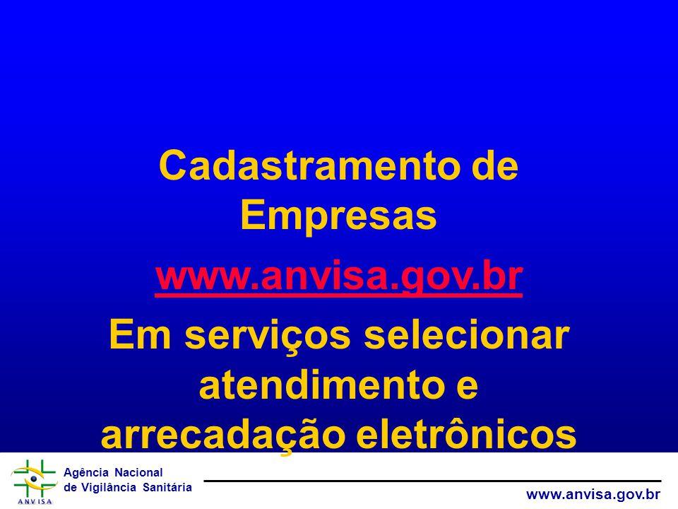 Cadastramento de Empresas www.anvisa.gov.br
