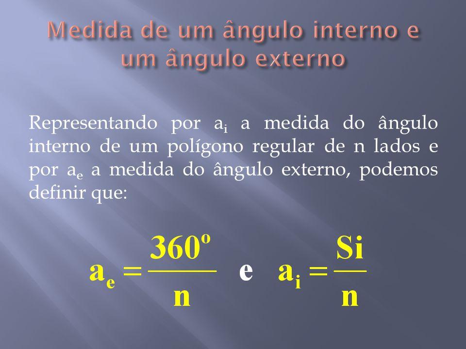 Medida de um ângulo interno e um ângulo externo
