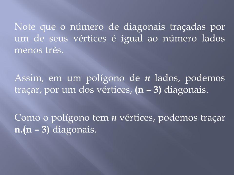 Note que o número de diagonais traçadas por um de seus vértices é igual ao número lados menos três.