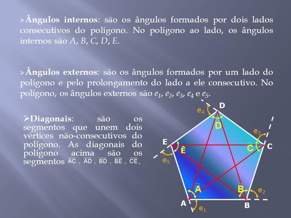 Ângulos internos: são os ângulos formados por dois lados consecutivos do polígono. No polígono ao lado, os ângulos internos são A, B, C, D, E.