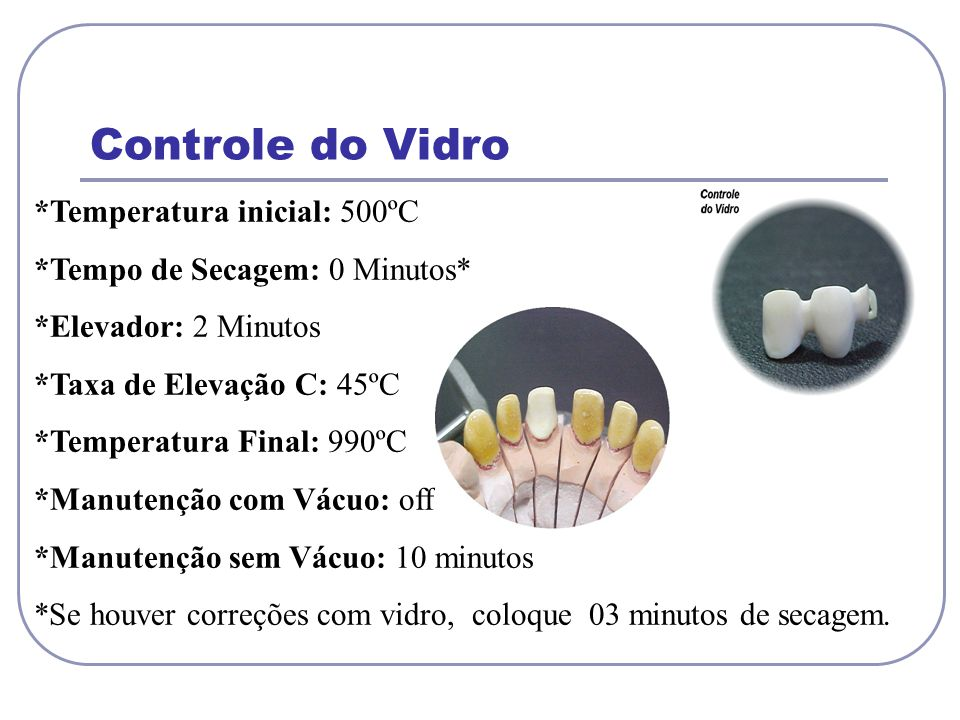 Controle do Vidro *Temperatura inicial: 500ºC