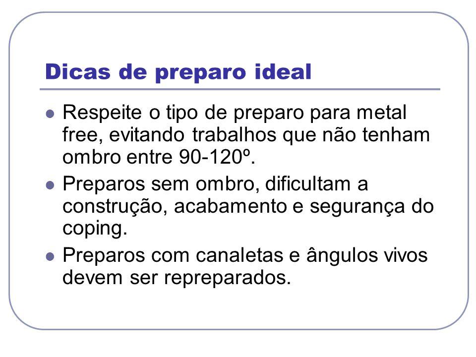 Dicas de preparo ideal Respeite o tipo de preparo para metal free, evitando trabalhos que não tenham ombro entre 90-120º.