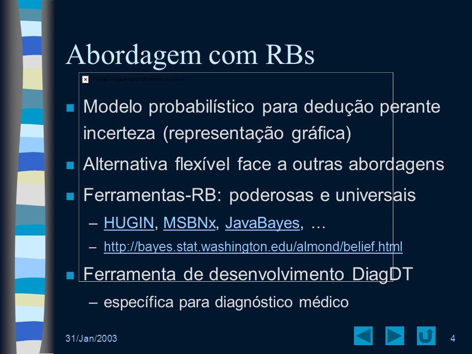 Abordagem com RBs Modelo probabilístico para dedução perante incerteza (representação gráfica) Alternativa flexível face a outras abordagens.