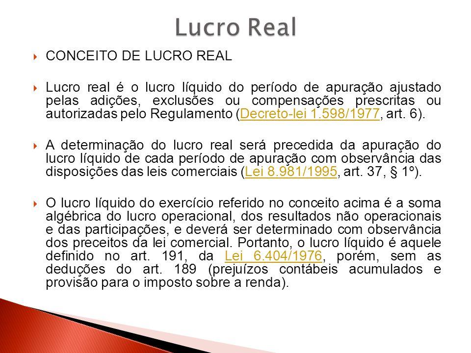 Lucro Real CONCEITO DE LUCRO REAL