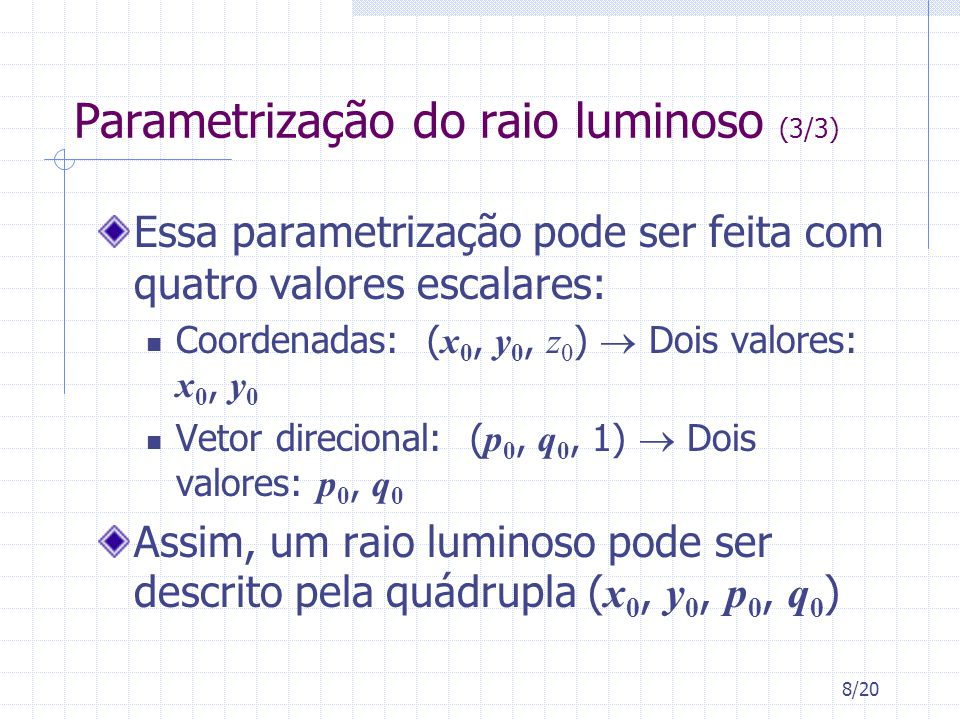 Parametrização do raio luminoso (3/3)