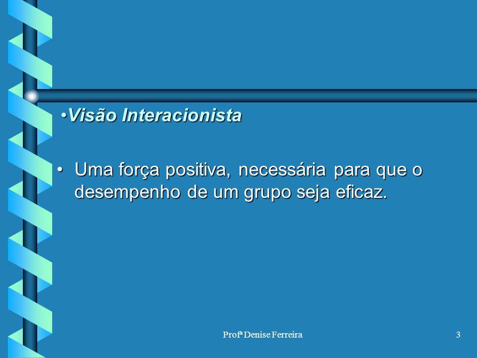 Visão Interacionista Uma força positiva, necessária para que o desempenho de um grupo seja eficaz.