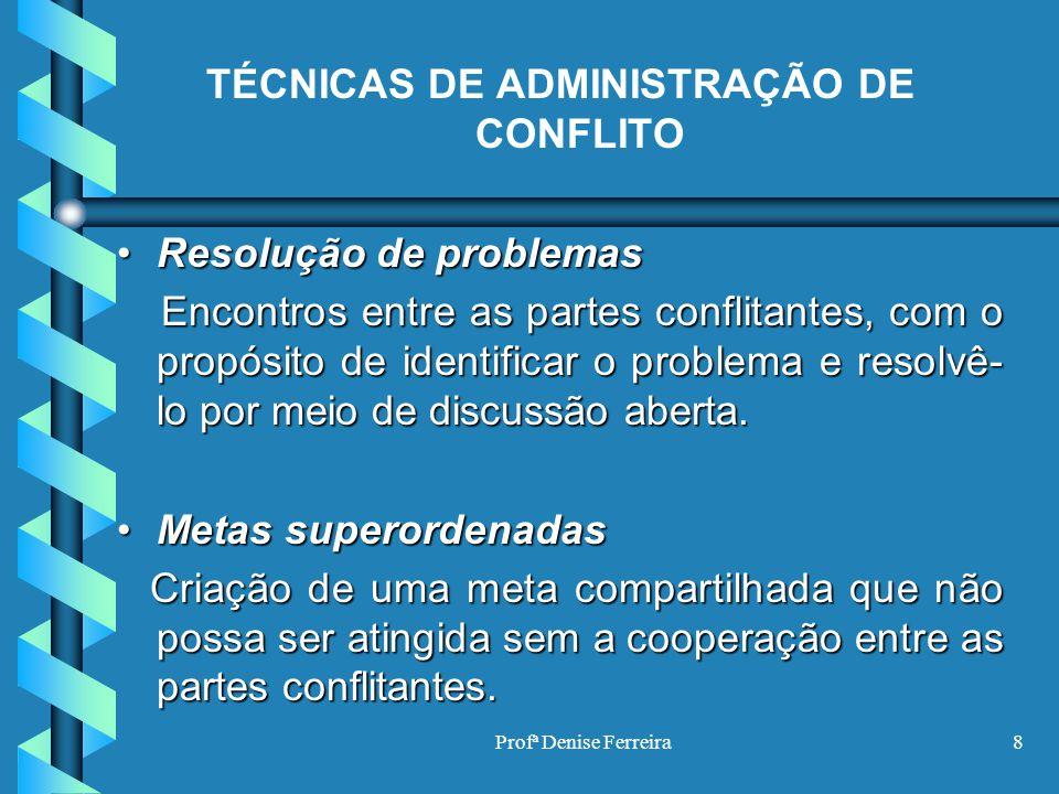 TÉCNICAS DE ADMINISTRAÇÃO DE CONFLITO