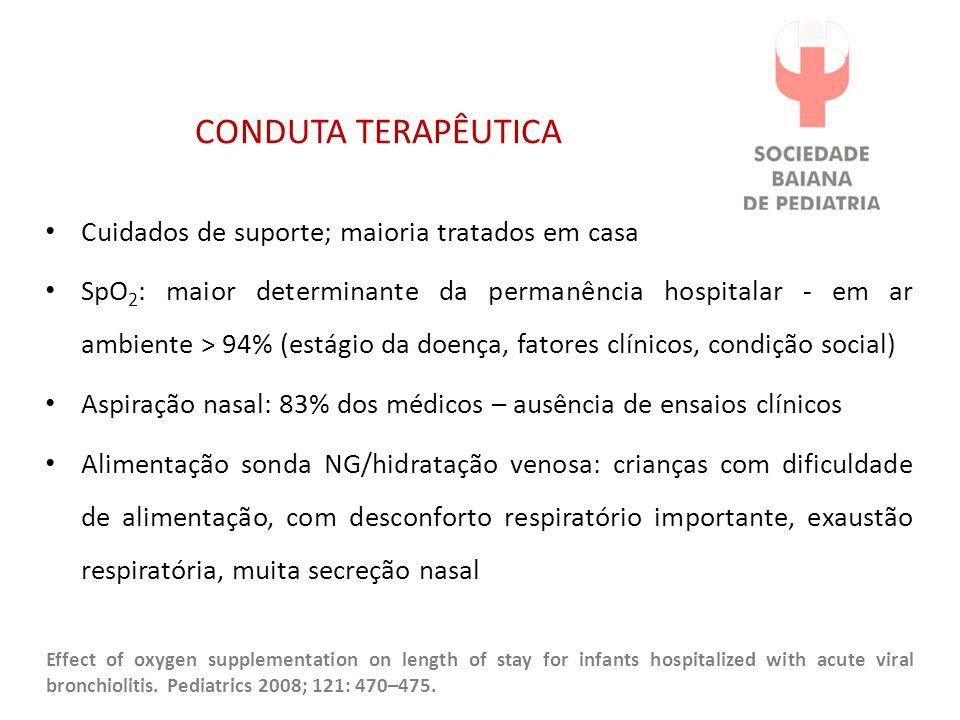 CONDUTA TERAPÊUTICA Cuidados de suporte; maioria tratados em casa