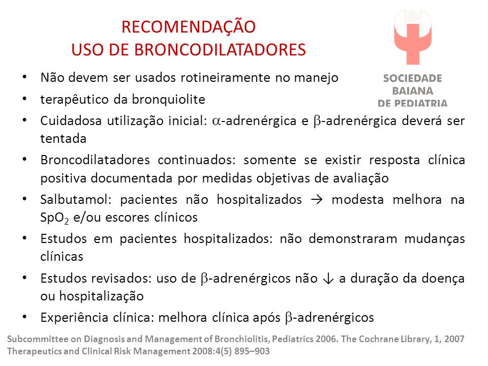 RECOMENDAÇÃO USO DE BRONCODILATADORES
