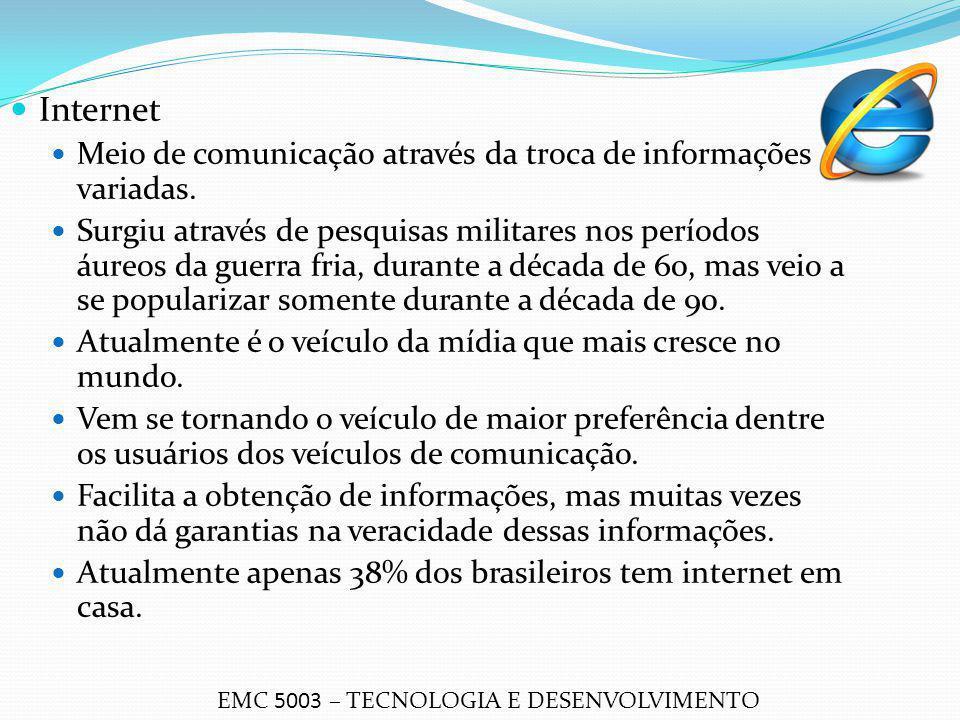 Internet Meio de comunicação através da troca de informações variadas.