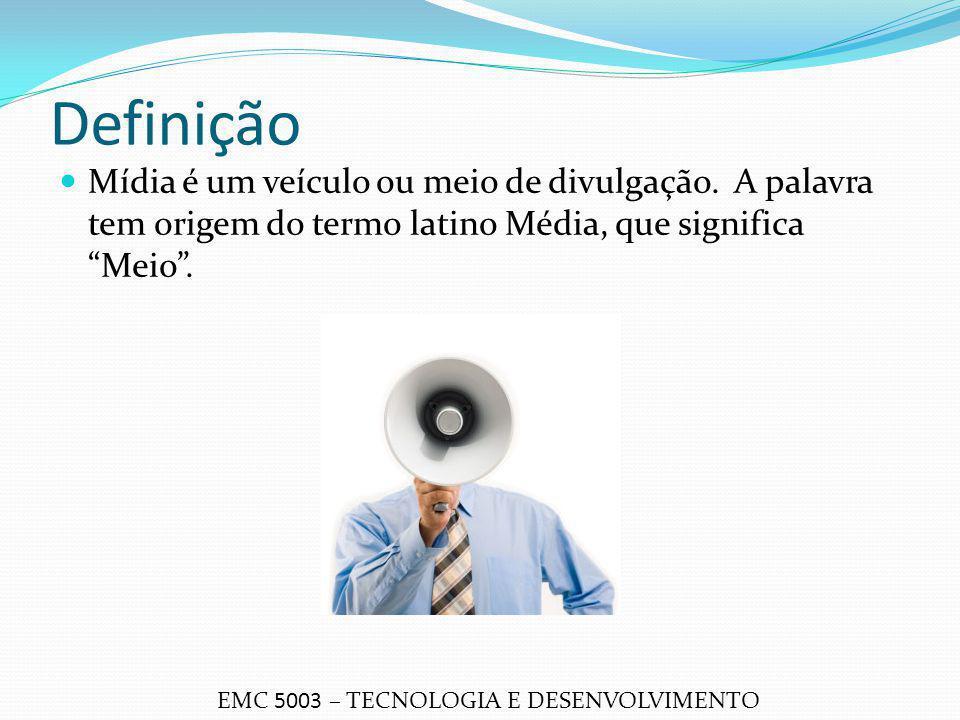 Definição Mídia é um veículo ou meio de divulgação. A palavra tem origem do termo latino Média, que significa Meio .