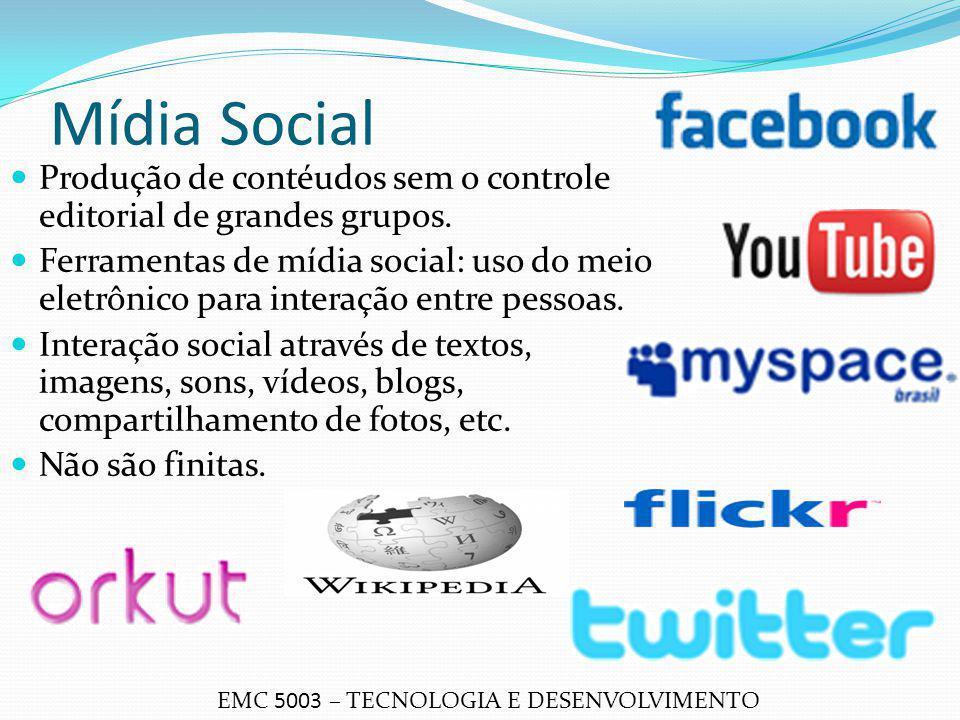 Mídia Social Produção de contéudos sem o controle editorial de grandes grupos.