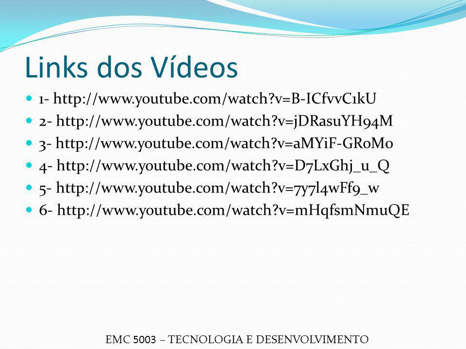 Links dos Vídeos 1- http://www.youtube.com/watch v=B-ICfvvC1kU