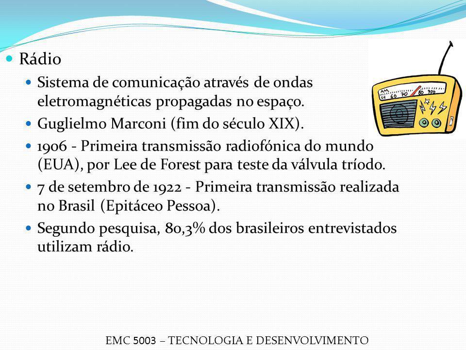 Rádio Sistema de comunicação através de ondas eletromagnéticas propagadas no espaço. Guglielmo Marconi (fim do século XIX).