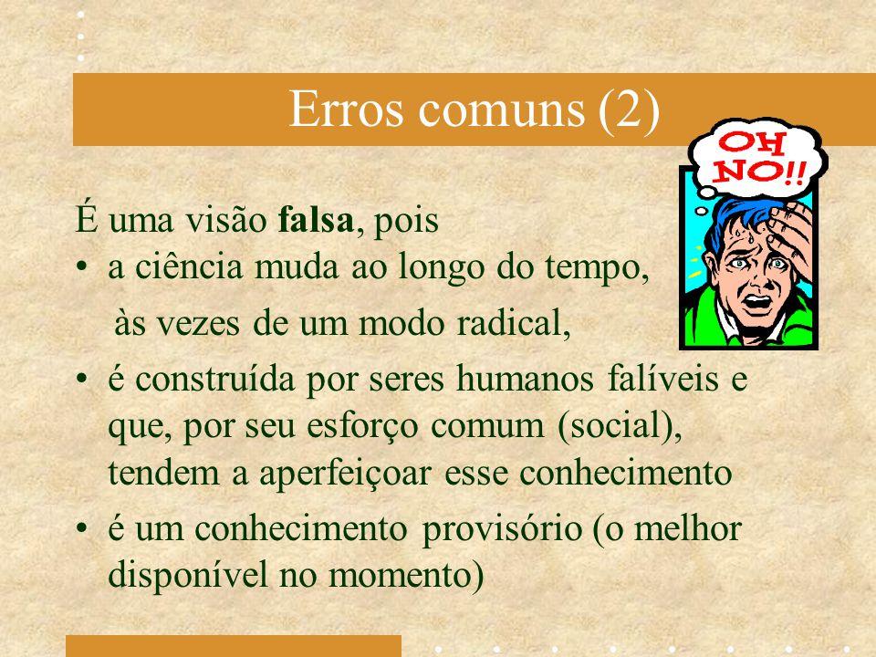 Erros comuns (2) É uma visão falsa, pois