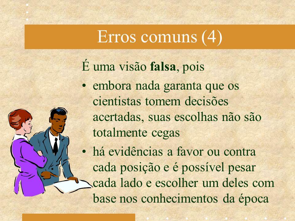 Erros comuns (4) É uma visão falsa, pois